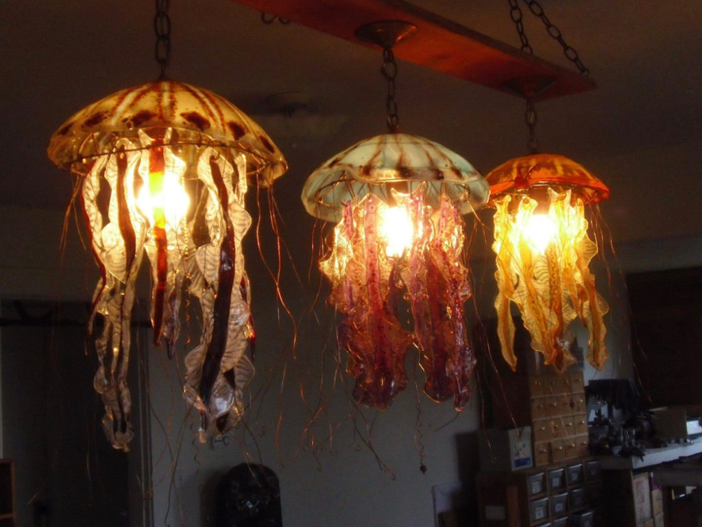 Glass Jelly Fish And Squid Lamps for you