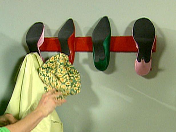 Transform the high heels into a coat rack