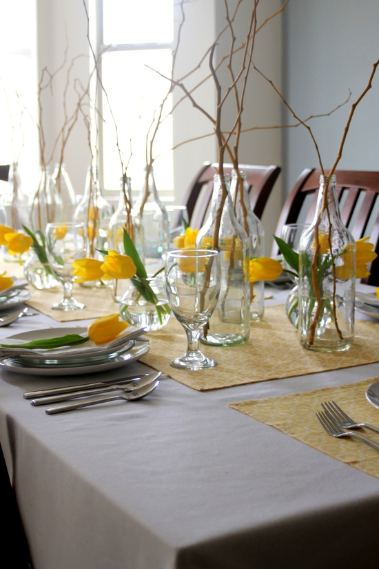 Flower bouquets punctuating the table