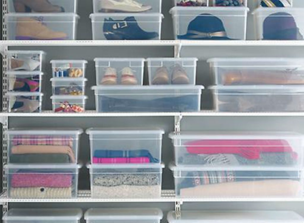 Use clear baskets to store shoes