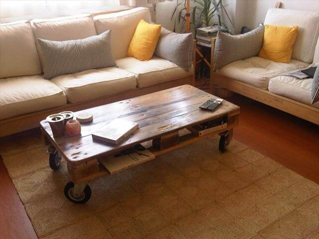 Coffee table with industrial wheels