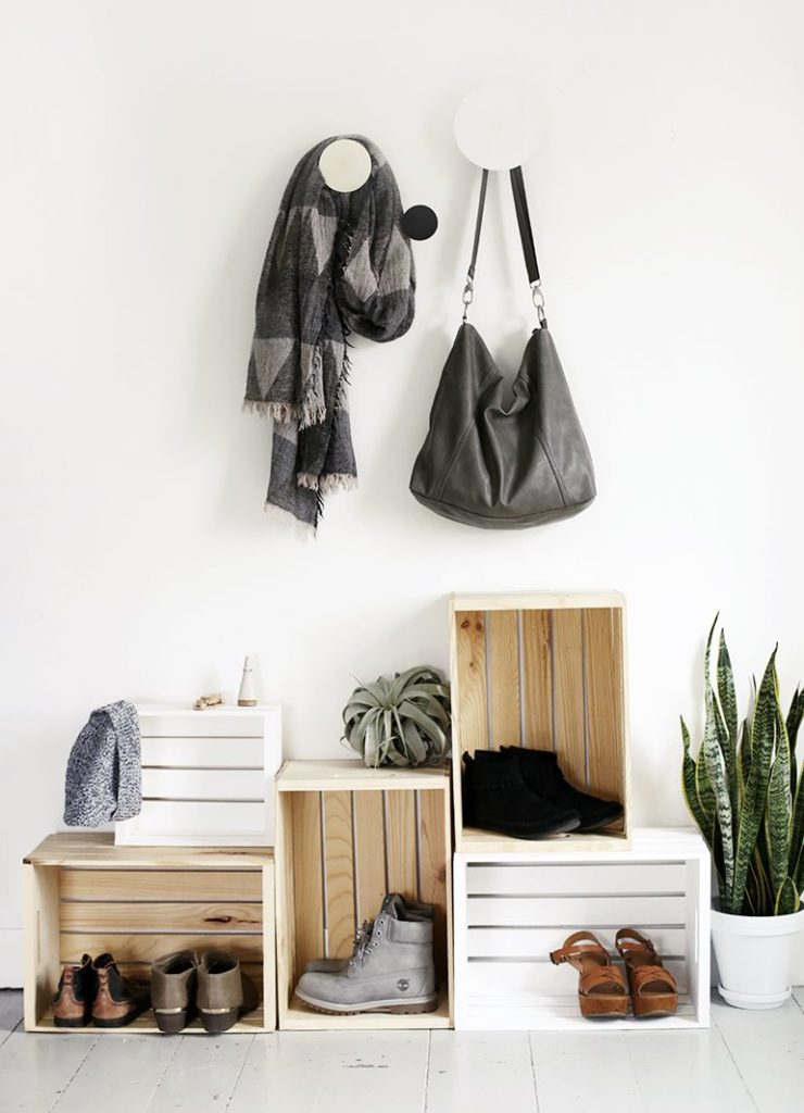 Create a wooden crate entryway