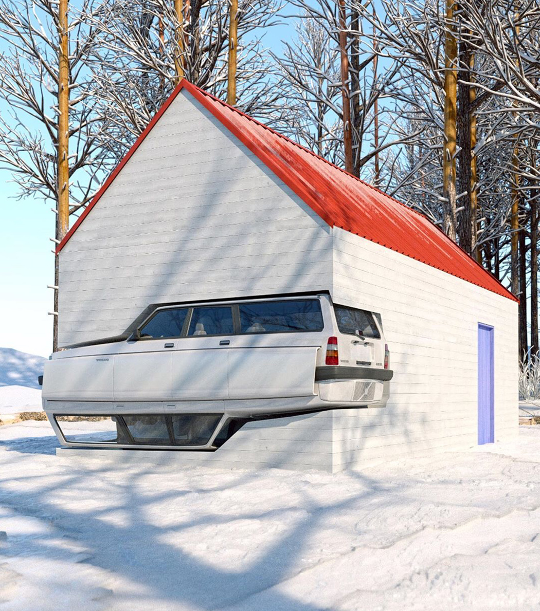 Volvo 240 Merged With A Winter Cabin