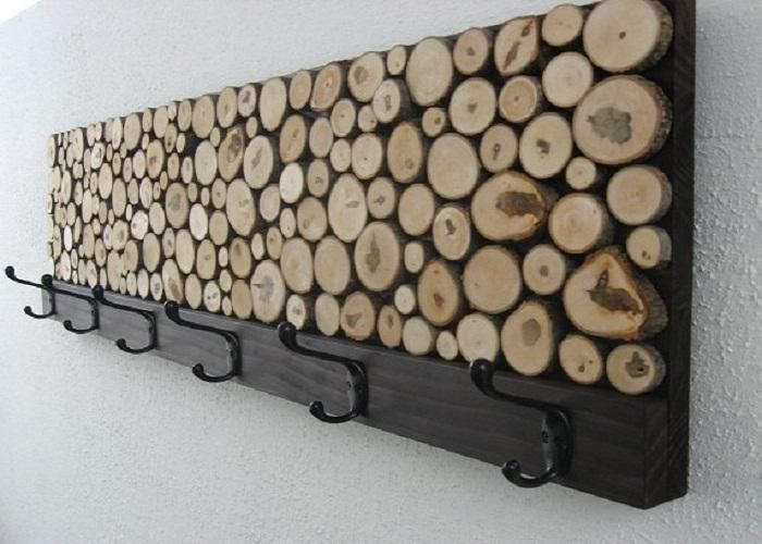 Sliced Wood Coat Rack
