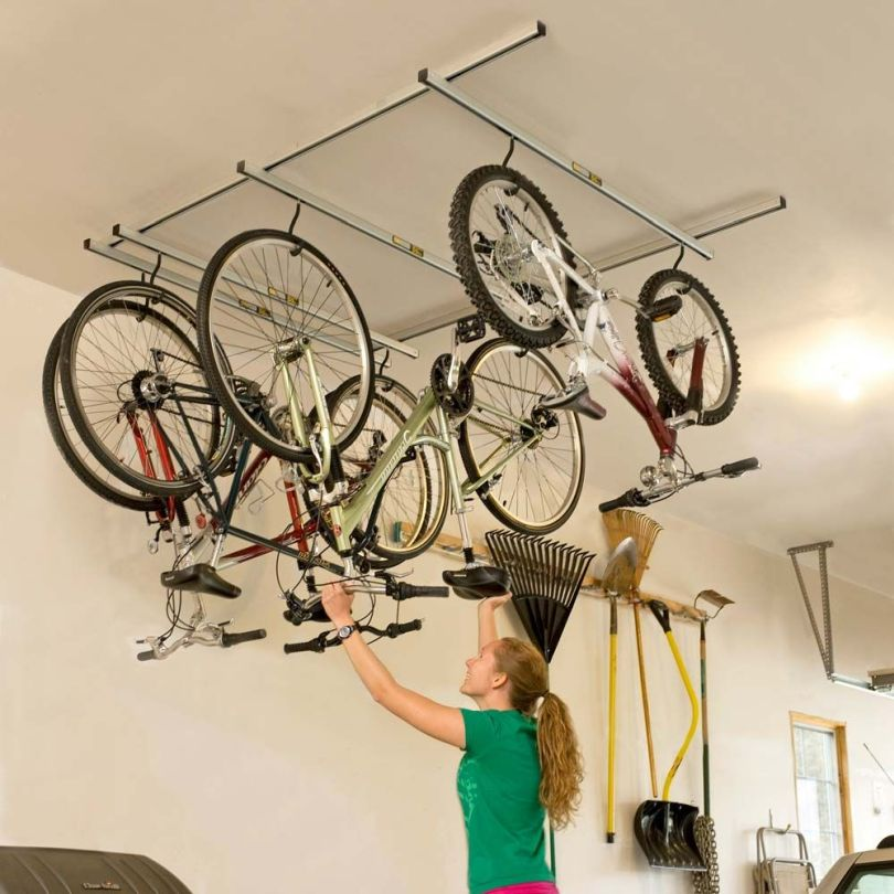 Ceiling mounted bike storage
