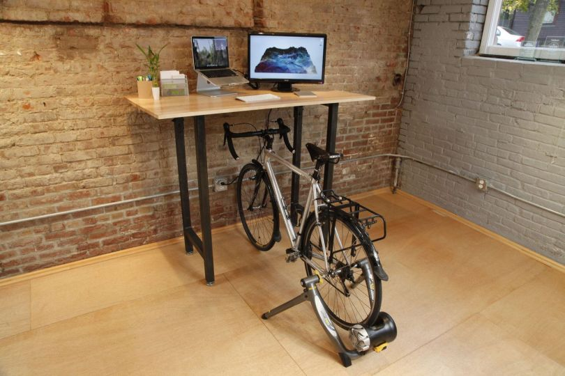 Desk with bike unusual storage