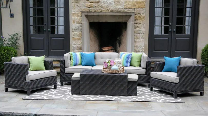 Wicker sofa set with wicker center table