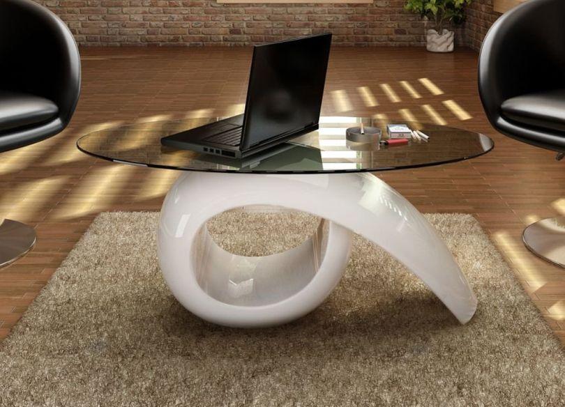 Exquisite ceramic and glass center table