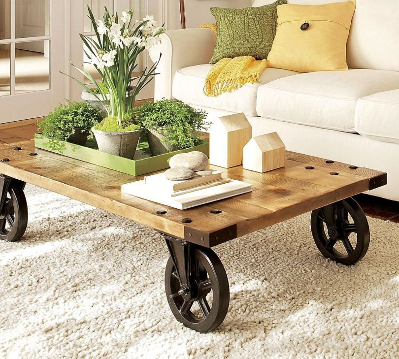 Vintage center table on wheels