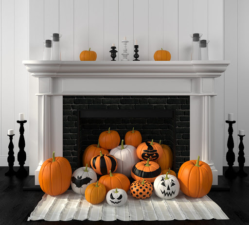 Stack Pumpkins into a Fireplace