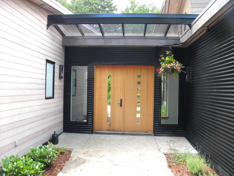 Wood and Glass Front Door with Glass Canopy