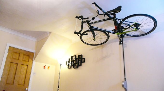 Ceiling is a great place to store your bike