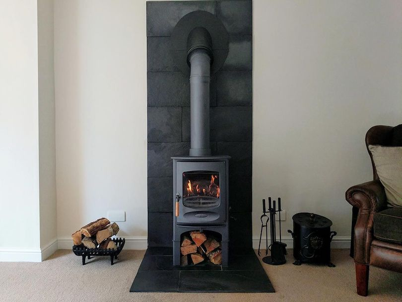 Slate or Stainless Steel Fireplace