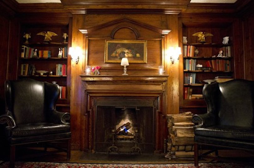 Home Library Fireplace