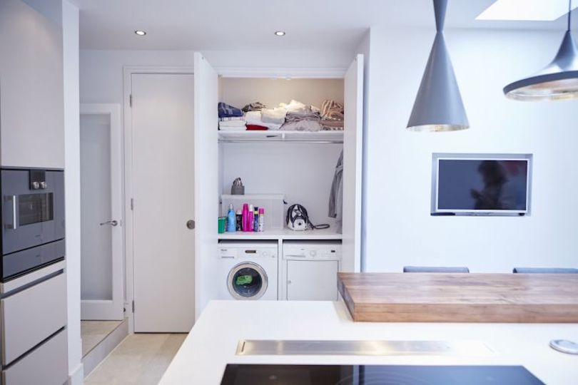 Form utility area behind double doors
