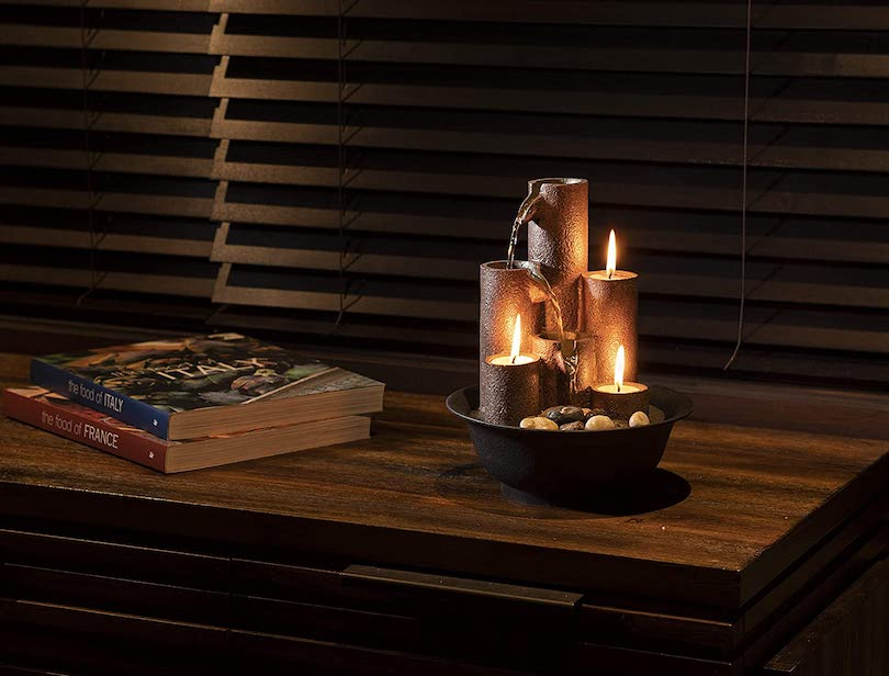 Alpine Tiered Column Tabletop Fountain with 3 Candles