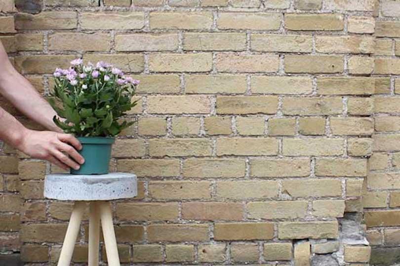 DIY Concrete Stool Plant Stand