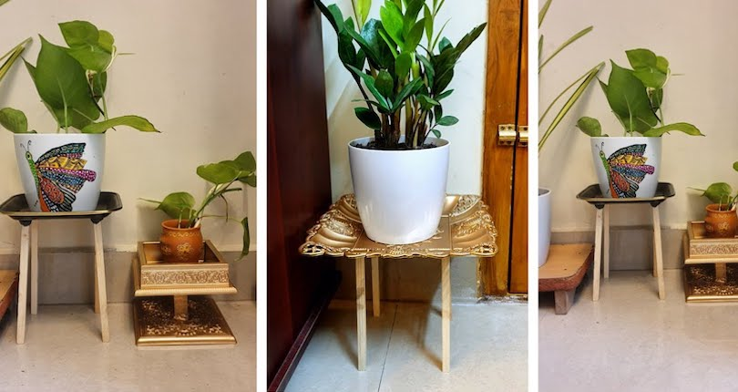 DIY Acrylic + Wooden Plant Stand