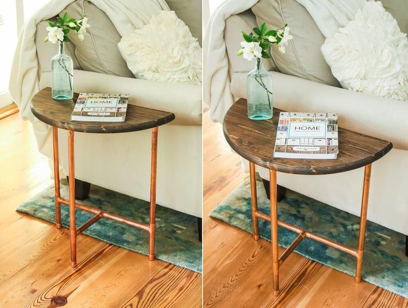 DIY Copper Pipe & Wood Slice Side Table