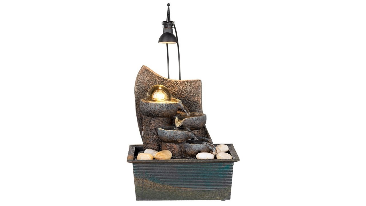 """Faux Stone 10"""" High LED Table Fountain with Crystal Accent"""