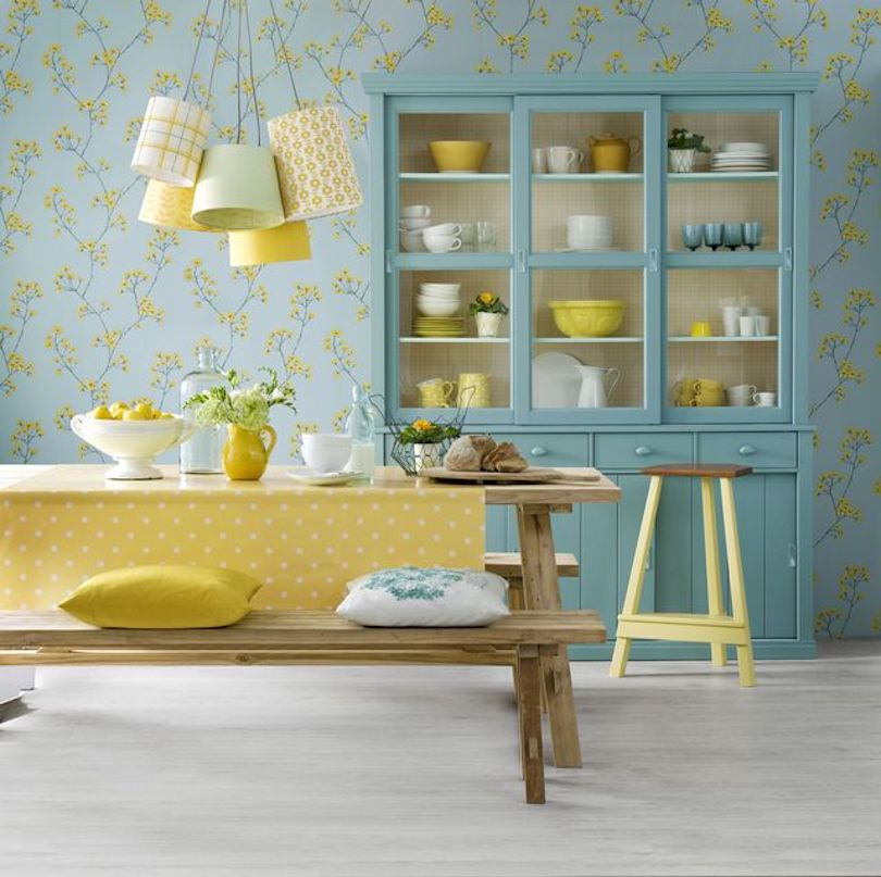 Matching wallpaper and cabinet