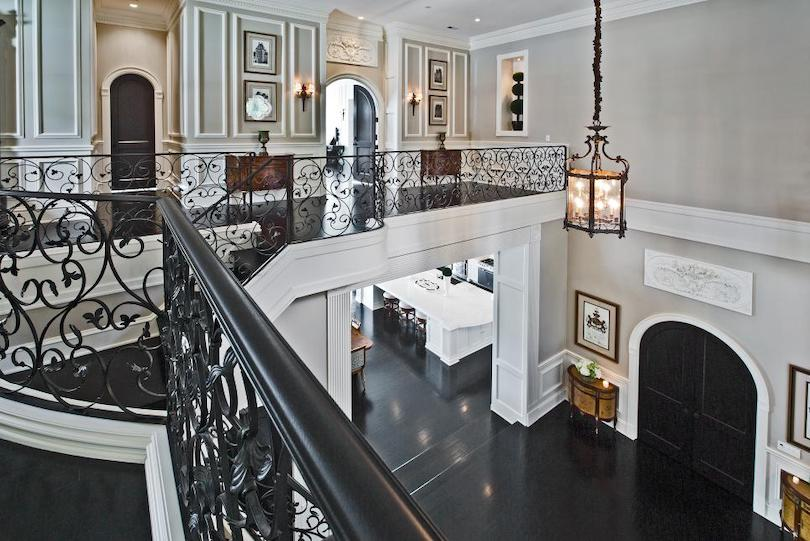 Modern Spanish Style Staircase With Iron Railing