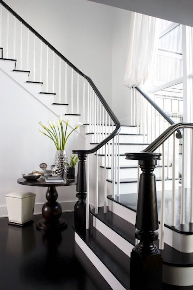 Black and White Stairs and Foyer