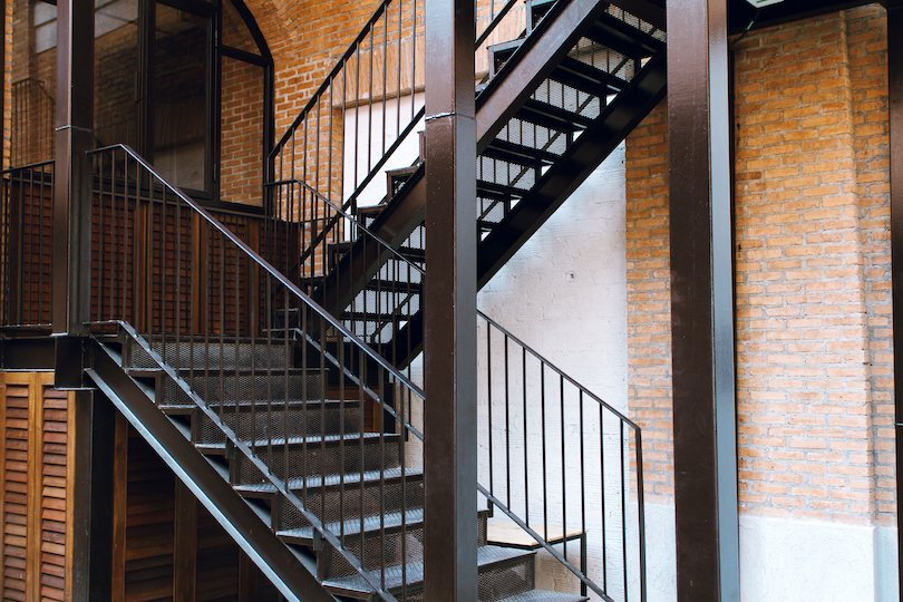 Industrial Stairs with Metal Railing