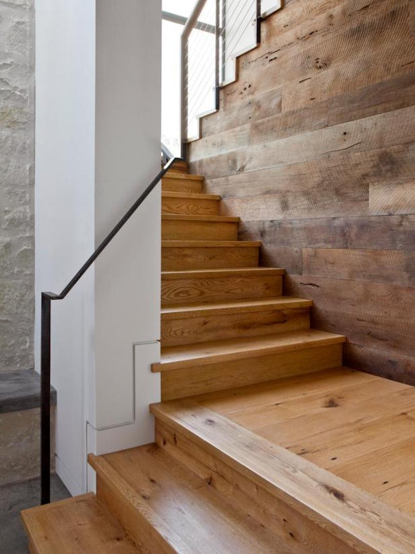 Wooden Stairs With Wire and Metal Railing
