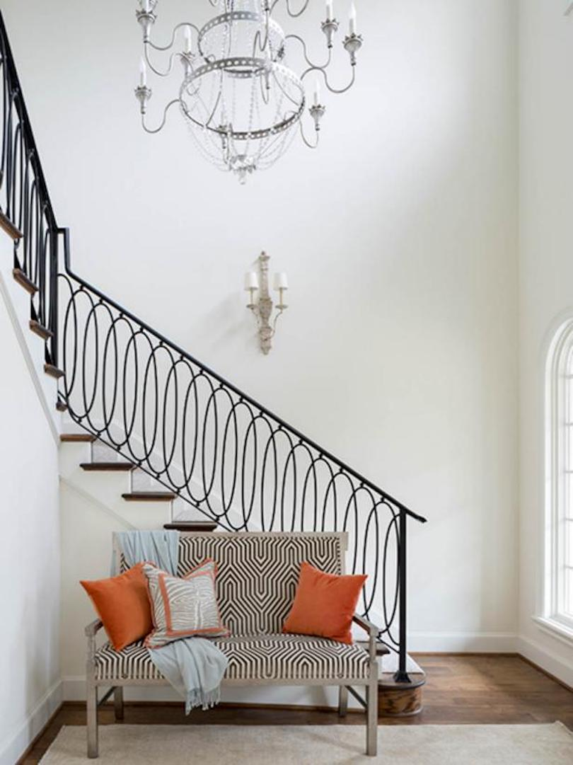 Dramatic Entryway With Custom-Designed Iron Stair Railing