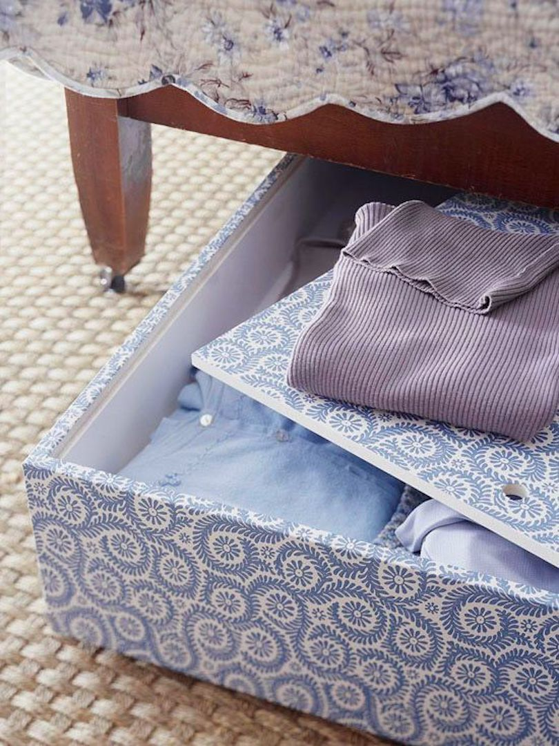 Storage boxes with wallpaper cover