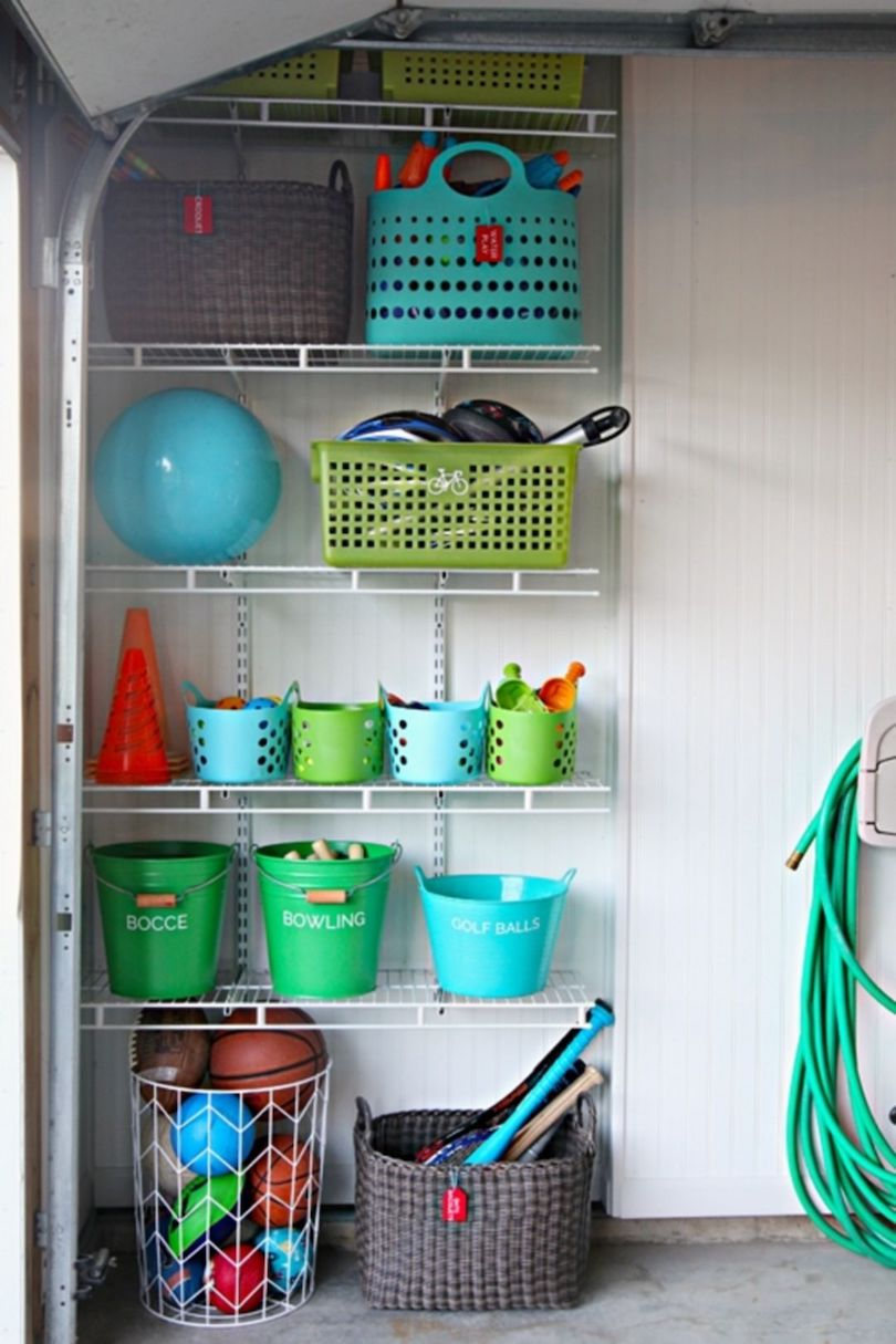 Open Shelves With Bright Buckets