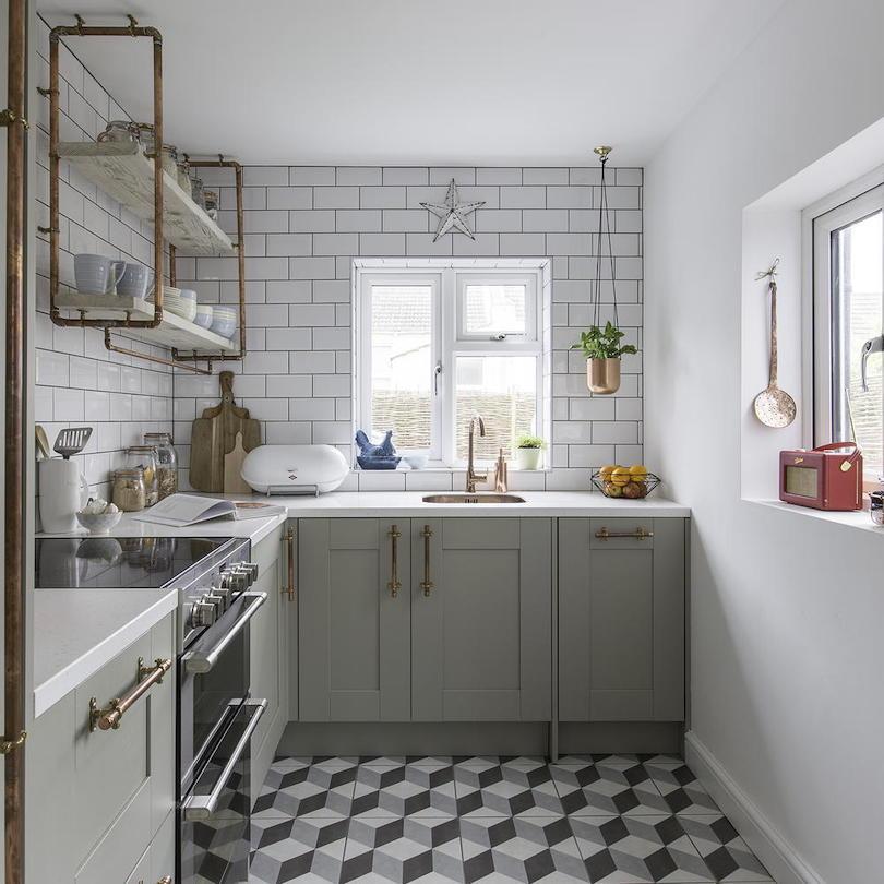 Sleek industrial small kitchen