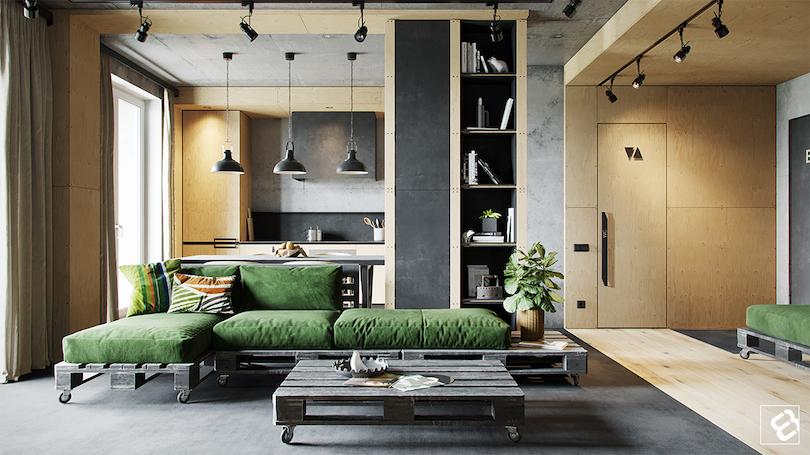 Family Room Design With Industrial Sleek Scheme