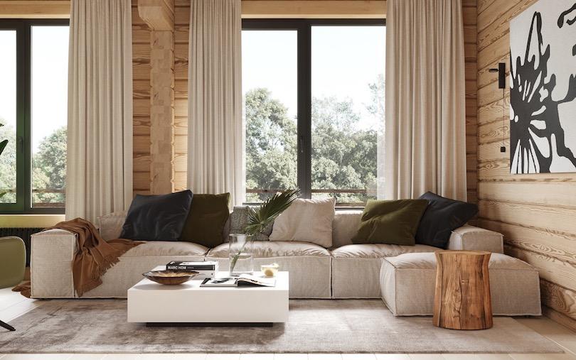 Cabin-Like Family Room Design