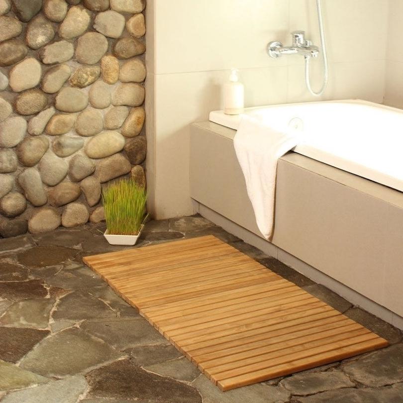 Add a Cedar or Teak Bath Mat