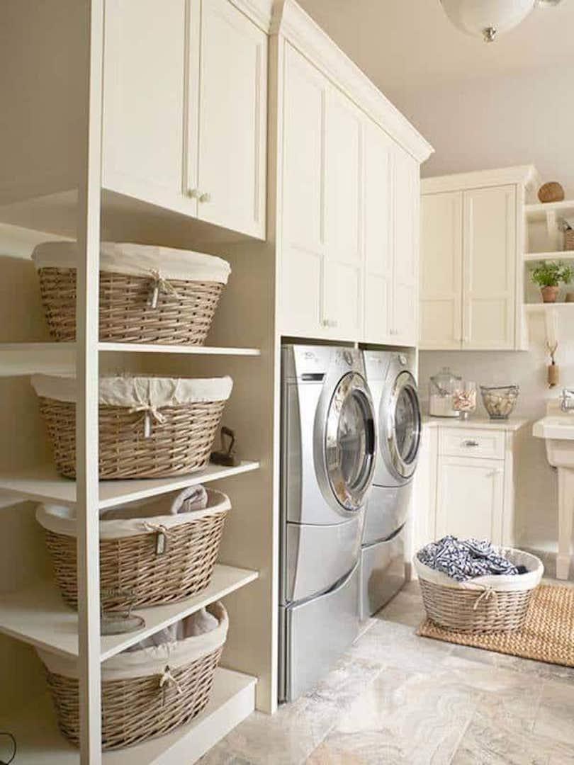Organized Laundry Baskets On Shelves