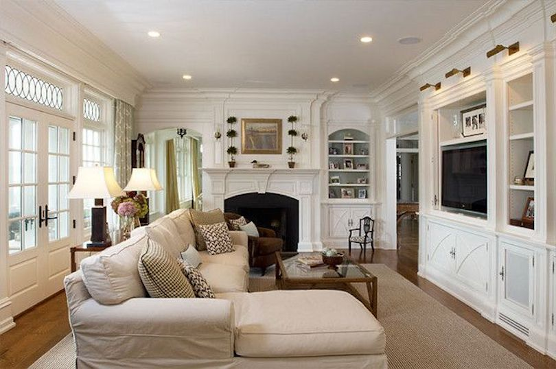 A narrow and long living room