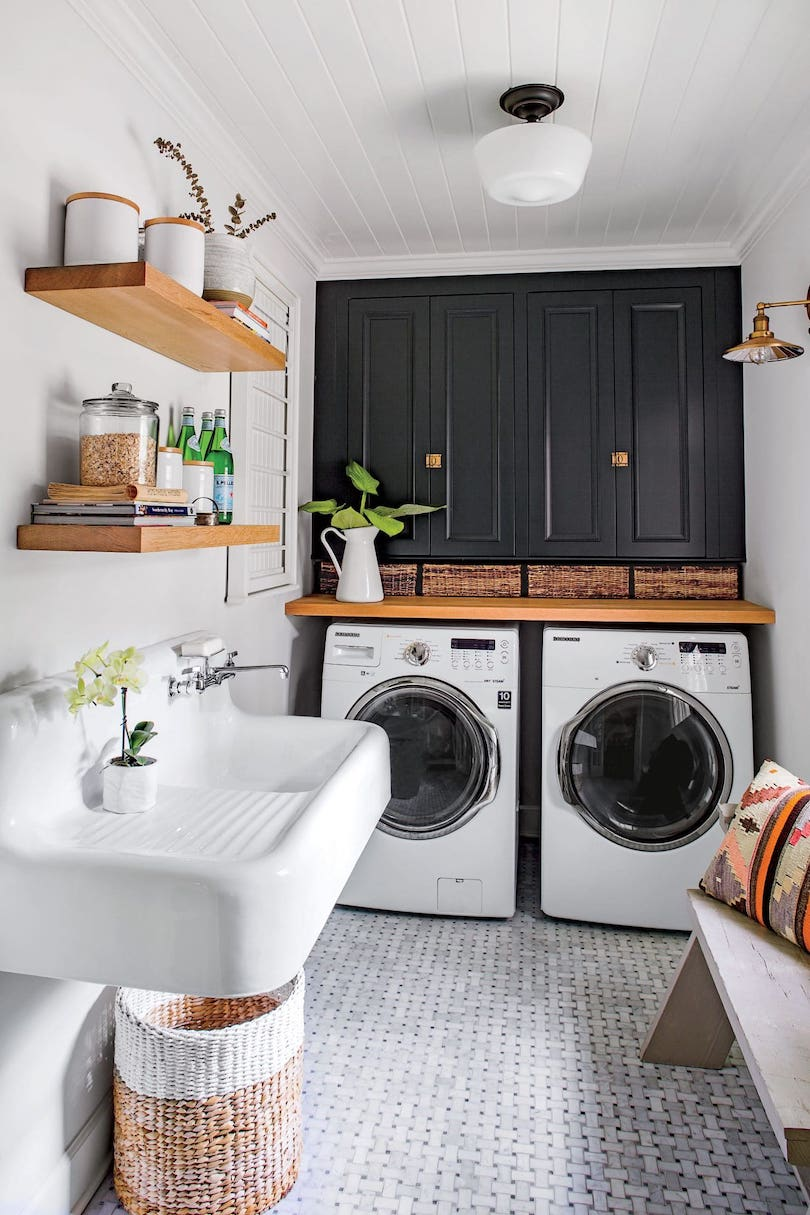 Narrow Laundry Room With Patterned Flooring