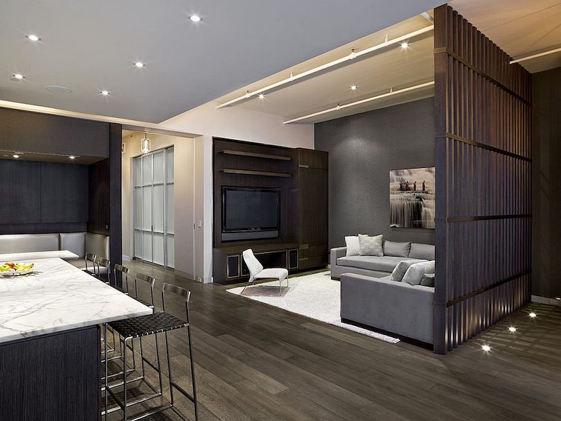 Open plan living room with organized layout