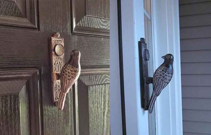 Pecking bird door knocker