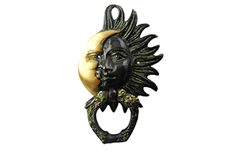 Sun and crescent moon door knocker