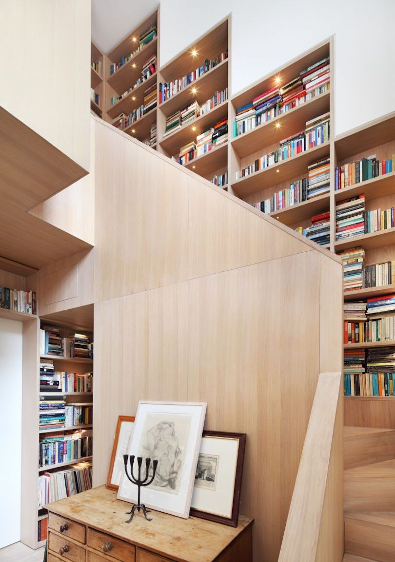 Staircase With Built-In Bookcase