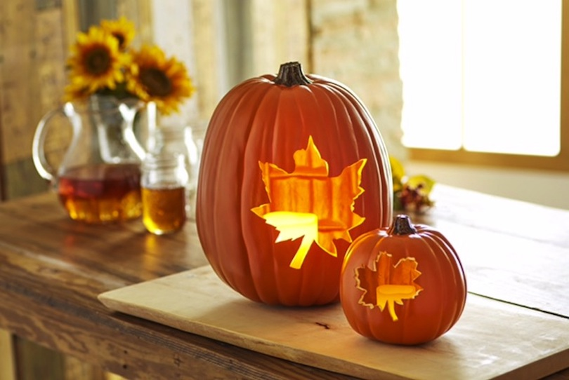 Autumn Leaf Pumpkin Carving Idea