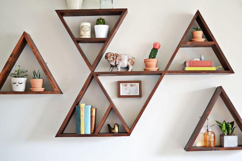 Triangular Wall Shelf Design Ideas