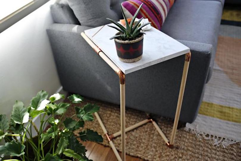 Copper Pipe & Marble Side Table