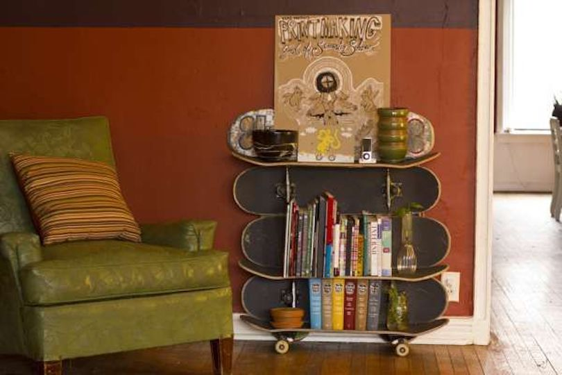 Skateboard Bookshelf Designs