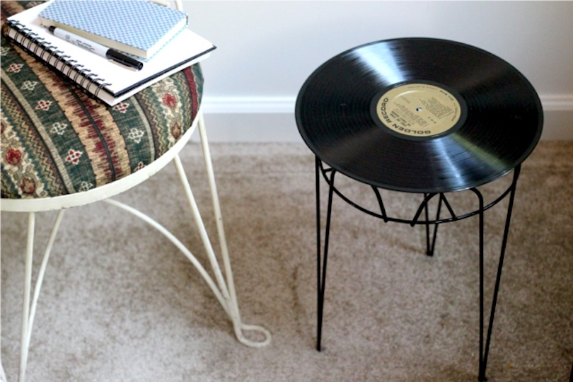 Vintage Record Side Table